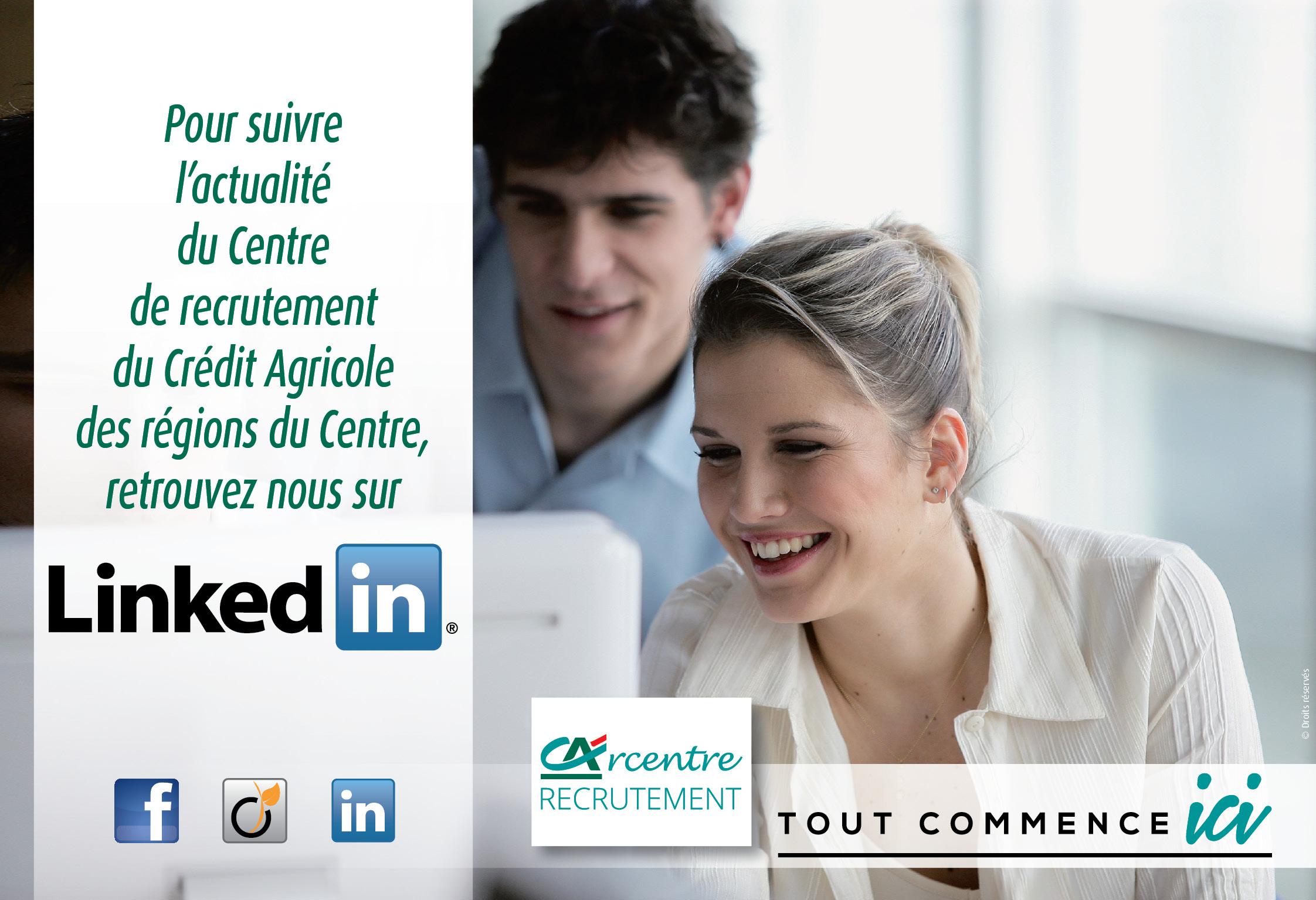 Banque Centre de recrutement du Crédit Agricole des régions du Centre : Rejoignez nous sur les réseaux sociaux pour suivre l'actualité recrutement des Caisses régionales Crédit Agricole Centre Loire, Crédit Agricole Centre Ouest, Crédit Agricole Touraine Poitou et Crédit Agricole Val de France.