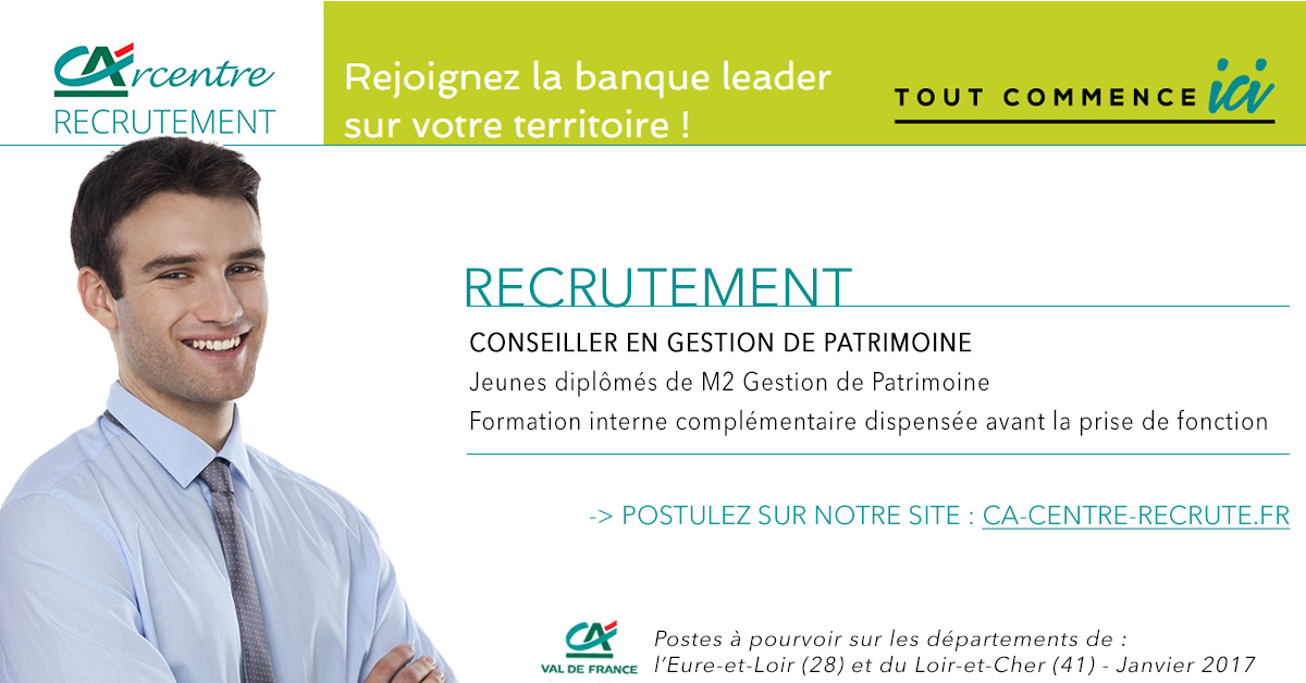 recrutement conseillers en gestion de patrimoine d partement 28 et 41 carcentre recrute. Black Bedroom Furniture Sets. Home Design Ideas