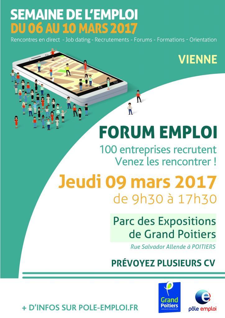 Forum emploi organis par grand poitiers et p le emploi for Rue salvador allende poitiers