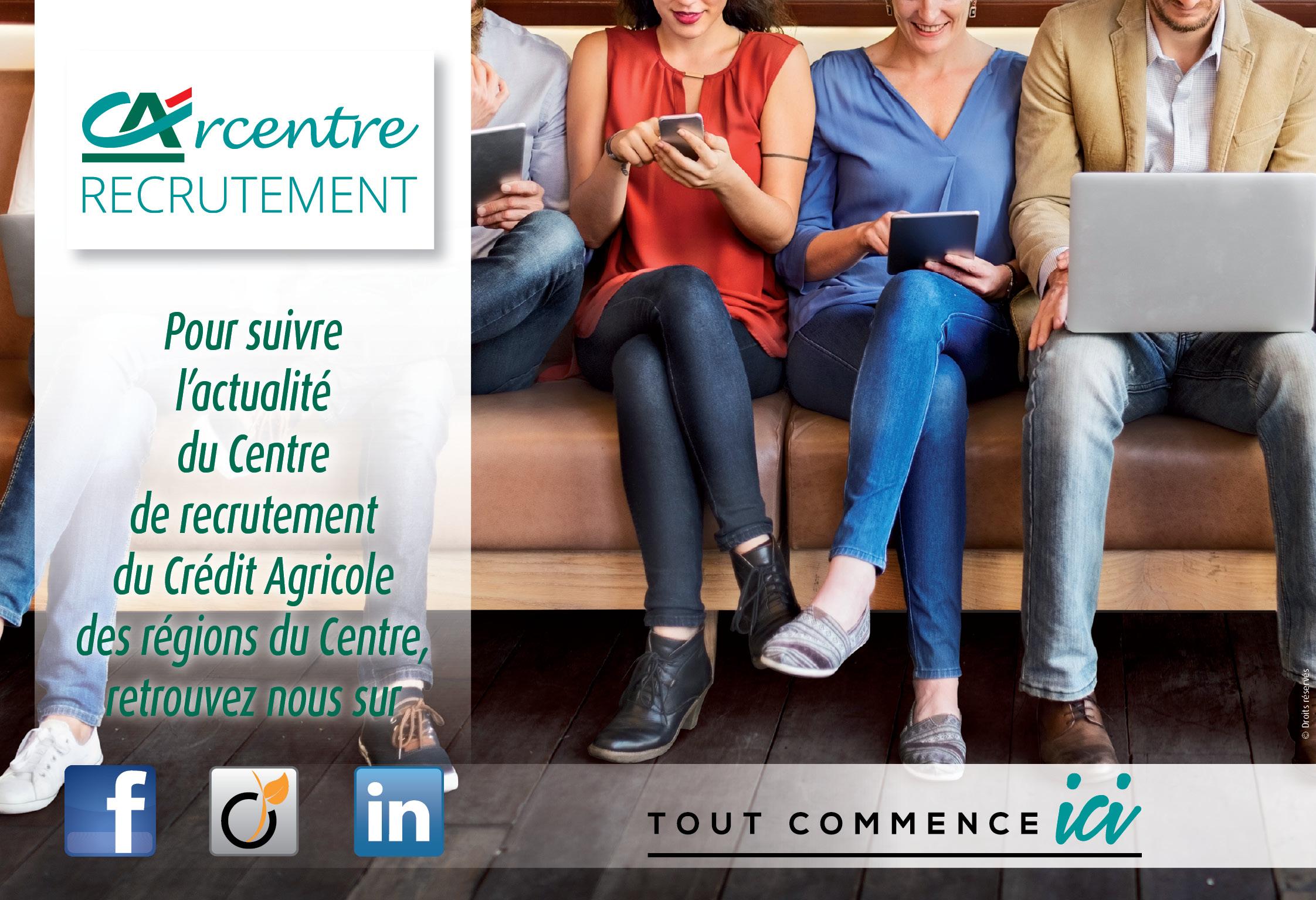 Actualité recrutement Linkedin, Viadéo, Facebook : Recrutement Banque : Vous êtes présent sur Linkedin, Viadéo ou Facebook… Le Centre de recrutement Crédit Agricole des régions du Centre l'est aussi !